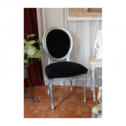 chaise médaillon baroque argent noir